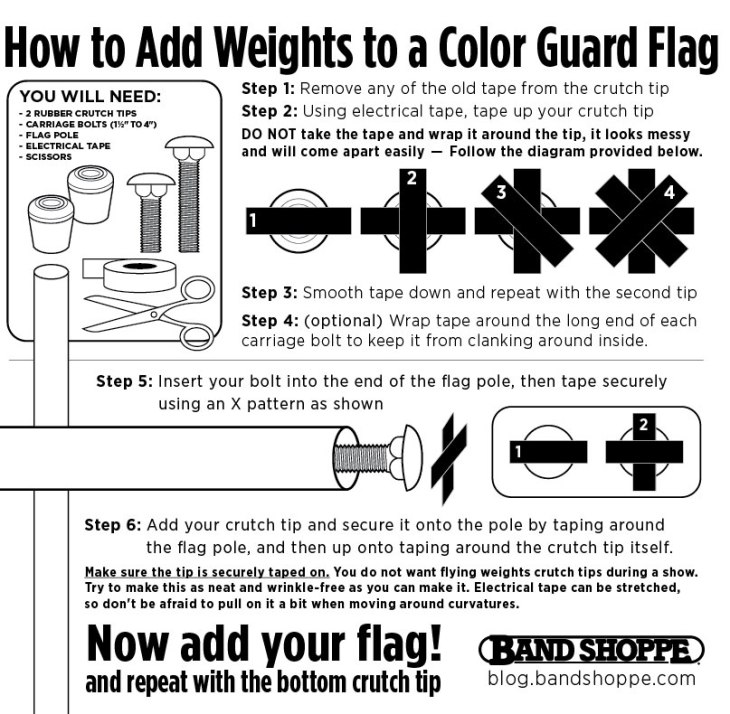 How to add pole weights to your color guard flag pole