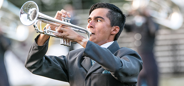 A trumpet player performs at Evansville, IN