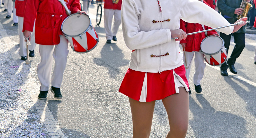 Young lady with twirling baton.